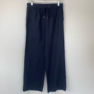 Michael Kors navy wide leg 100% linen pants 6p